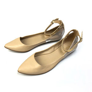 BCBG Zumah Nude & Metallic Ankle Strap Flats 8.5